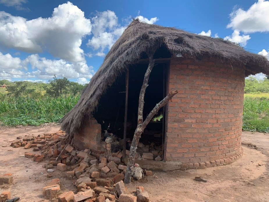 A villager's house destroyed by Cyclone Idai in March